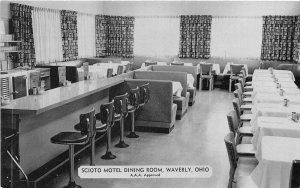 F53/ Waverly Ohio Postcard Chrome Scioto Motel Dining Room Interior