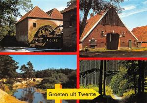 Netherlands Groeten uit Twente, Muehle Mill River Bridge Pont Road Forest