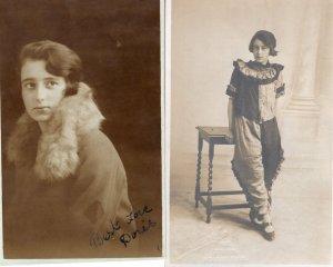 Doris As Bizarre Clown Posh Fur Ladies Jacket Hand Signed 2x Fashion Postcard s