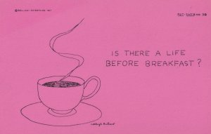 Cup Of Tea Is There Life Before Breakfast 1960s Comic Humour Postcard