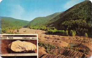 GRAVEL WINDROWS FROM GOLD DREDGES~MURRAY-PRITCHARD IDAHO GOLD NUGGET POSTCARD