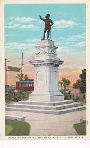 Florida St Augustine Ponce De Leon Statue Anderson Circle Curteich