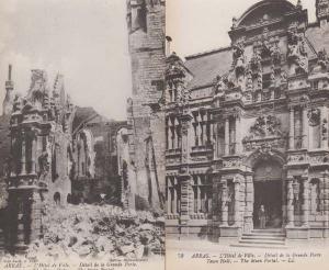 Arras France The Town Hall Portal Bomb Damage WW1 2x Wartime Military Postcard s
