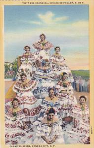 Elegant Women Dressed In Typical Costumes, Vista Del Carnaval, Carnival Scene...
