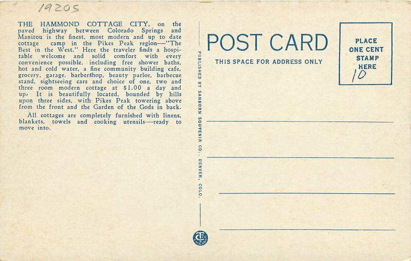 Camp Ground Colorado Springs Colorado Hammond Cottage City 1920s Postcard 4983