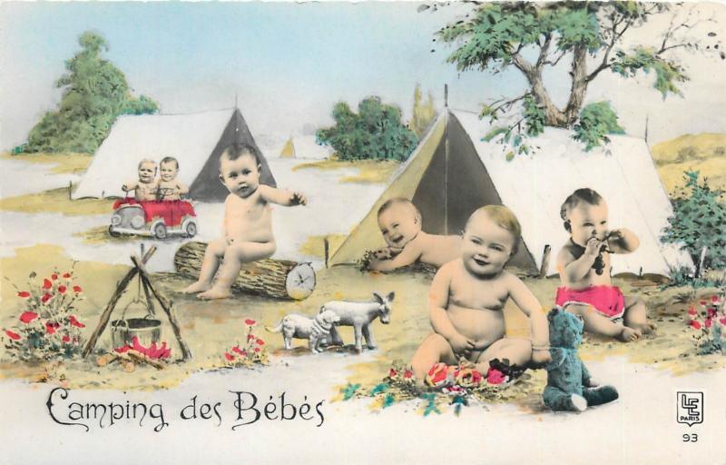 Babies camping surrealism semi-modern photo postcard