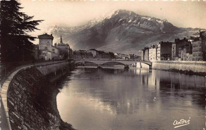 Vintage REAL PHOTO B&W Postcard GRENOBLE River Isere & Moucherotte FRANCE