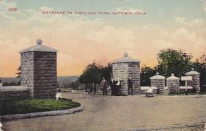 Entrance To Highland Park, Guthrie, Oklahoma, PU-1915