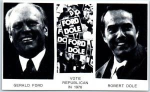 Presidential Campaign Postcard Vote Republican in 1976 Ford / Dole Portraits