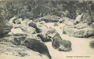 New Guinea typical landscape paysage Nouvelle Guinee river bridge