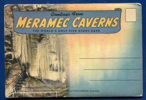 Meramec Caverns Cave Five Story Missouri mi postcard folder