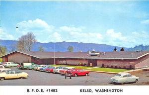 Kelso WA B. P.O.E. Elks #1482 Old Cars Postcard