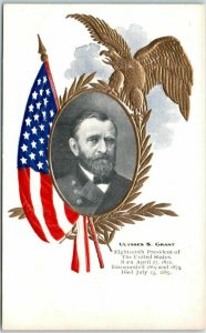 1906 ULYSSES S. GRANT Embossed Postcard 18th President of the United States