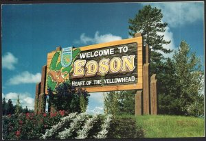 Alberta ~ Welcome to EDSON Entrance Town Sign pm1995- Cont'l 1980s-1990s