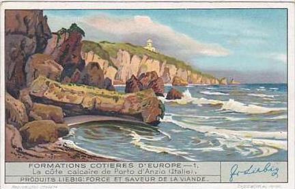 Liebig Trade Card S1316 European Coastal Formations No 1 Porto d'Anzio Italy