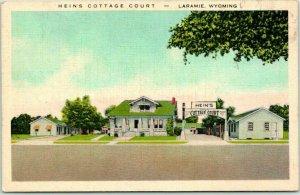 Laramie, Wyoming Postcard HEIN'S COTTAGE COURT Highway 30 Roadside Linen 1940s
