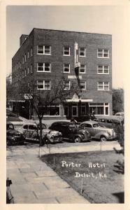 Beloit Kansas~Porter Hotel~1930s-40s Cars~Staying Here~Bath Has Tub~1951 RPPC