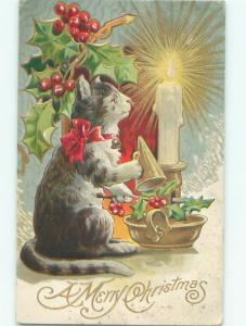 Pre-Linen Christmas LARGE KITTEN BY THE CANDLE AB5608
