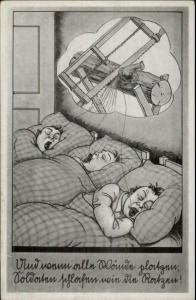 Sleeping Men Snoring Sawing Logs German Comic Postcard c1920 rpx