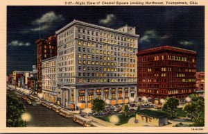 Ohio Youngstown Central Square Looking Northwest At Night Curteich