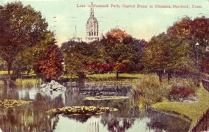 LAKE IN BUSHNELL PARK CAPITOL DOME IN DISTANCE HARTFORD, CT 1912