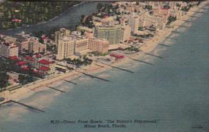 Florida Miami Beach Air View Ocean Front Hotels Curteich