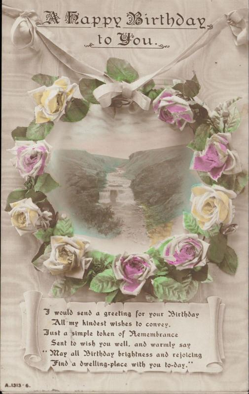 Birthday greetings wishes remembrance flowers roses waterfall
