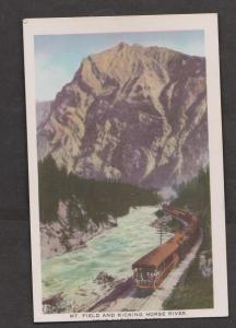 CPR Train Passing Mt Field Along The Kicking Horse River