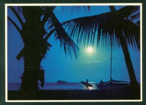Blue Hawaii Moods Beach Waikiki Full Moon Palms Surfer Moonlight Scene Postcard