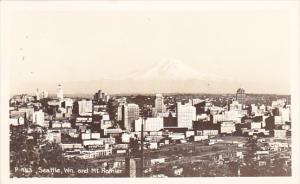Seattle and Mt Rainier Washington Real Photo