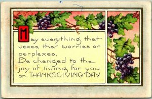 1921 Whitney THANKSGIVING Greetings Postcard May Everything that Vexes…