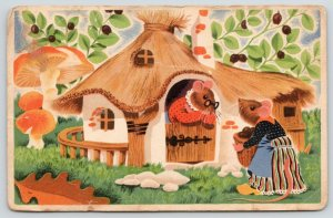 Artist~Dressed Mice~A Neighbors Chat~Thatch-Roof Hut~Red/White Mushrooms~c1915
