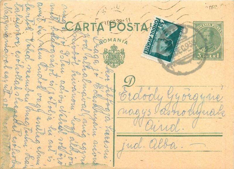 Romania 1938 uprated king Charles II green effigy royalty stationery postcard