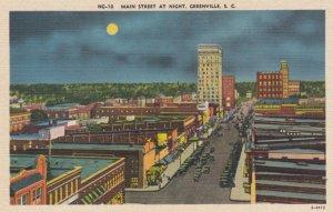 GREENVILLE, South Carolina, 1930-40s; Main Street at Night