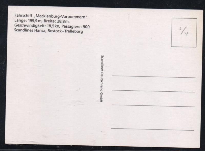 Colour PC Hansa Line Mecklenburg-Vorpommern unused