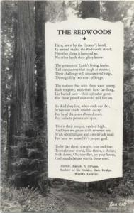 RPPC Redwoods And Poem by Joseph B. Strauss, Builder of the Golden Gate Bridge,