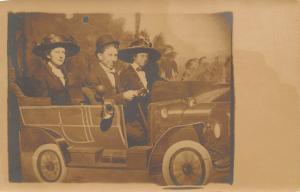 Real Photo Postcard~Young Ladies~Merry Widow Hats~Man Drives Fake Car~1908 RPPC