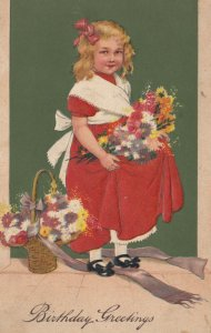 BIRTHDAY GREETINGS, 00-10s; Girl in red dress carrying flowers, PFB 9738