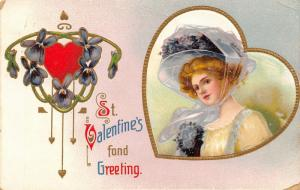 Clapsaddle Valentine~Lovely Lady Redhead in Lavender Hat Wrap~Heart Frame~Emboss