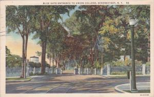 New York Schenectady Blue Gate Entrance To Union College 1942