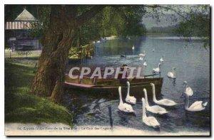 Old Postcard Lyon Tete d'Or Park The Corner Swans