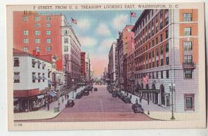 P988 old card F street scene many cars etc treasury looking east washington dc