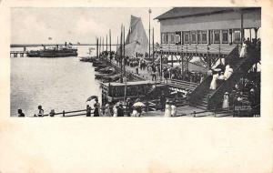 Atlantic City New Jersey Inlet Pier Scene Antique Postcard K20866