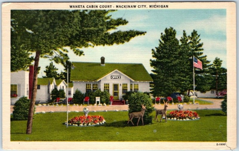 Mackinaw City, Michigan Postcard WANETA CABIN COURT Motel Cabins 1952 Linen