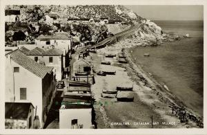 1915 Gibraltar Real Photo Postcard: Catalan Bay Village from Rex Tobacconist