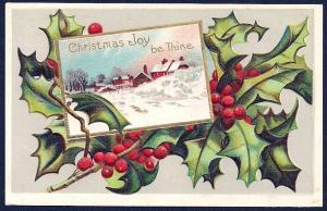 Christmas Joy be Thine Winter Scene Holly used c1909