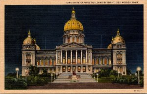 Iowa Des Moines State Capitol Building By Night Curteich