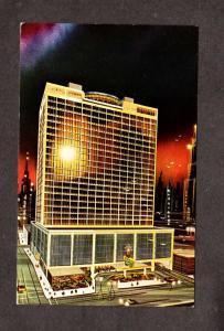 MO Night Holiday Inn Hotel Municipal Auditorium Kansas City Missouri Postcard
