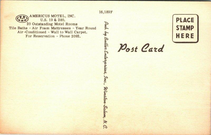 Georgia, Americus Motel, Highway 19-280, GA HOTEL UNPOSTED POSTCARD