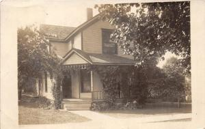 Beautiful House w Vines on Front Porch~Vintage RPPC Mailed @ Albion Michigan